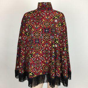 Vintage 70s Womens Shawl Poncho Corduroy Fringe I7